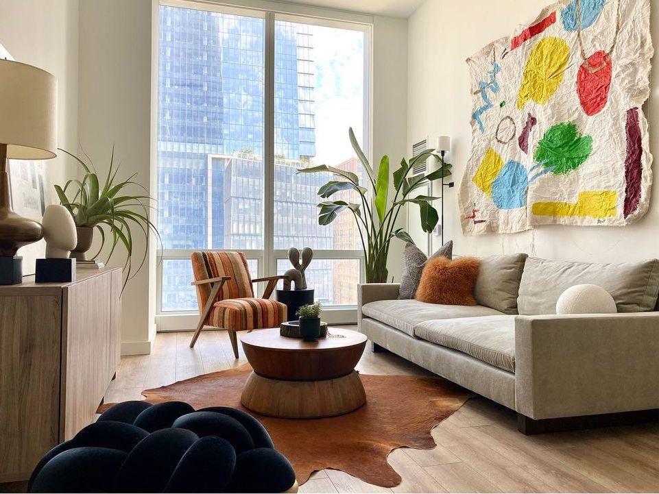 Living room with fabric art