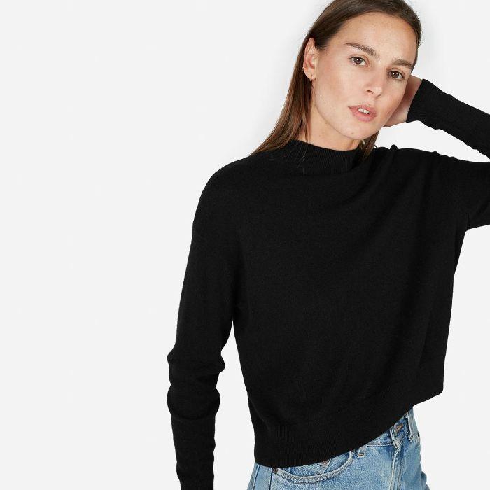 Everlane Cashmere Crop Mockneck Sweater