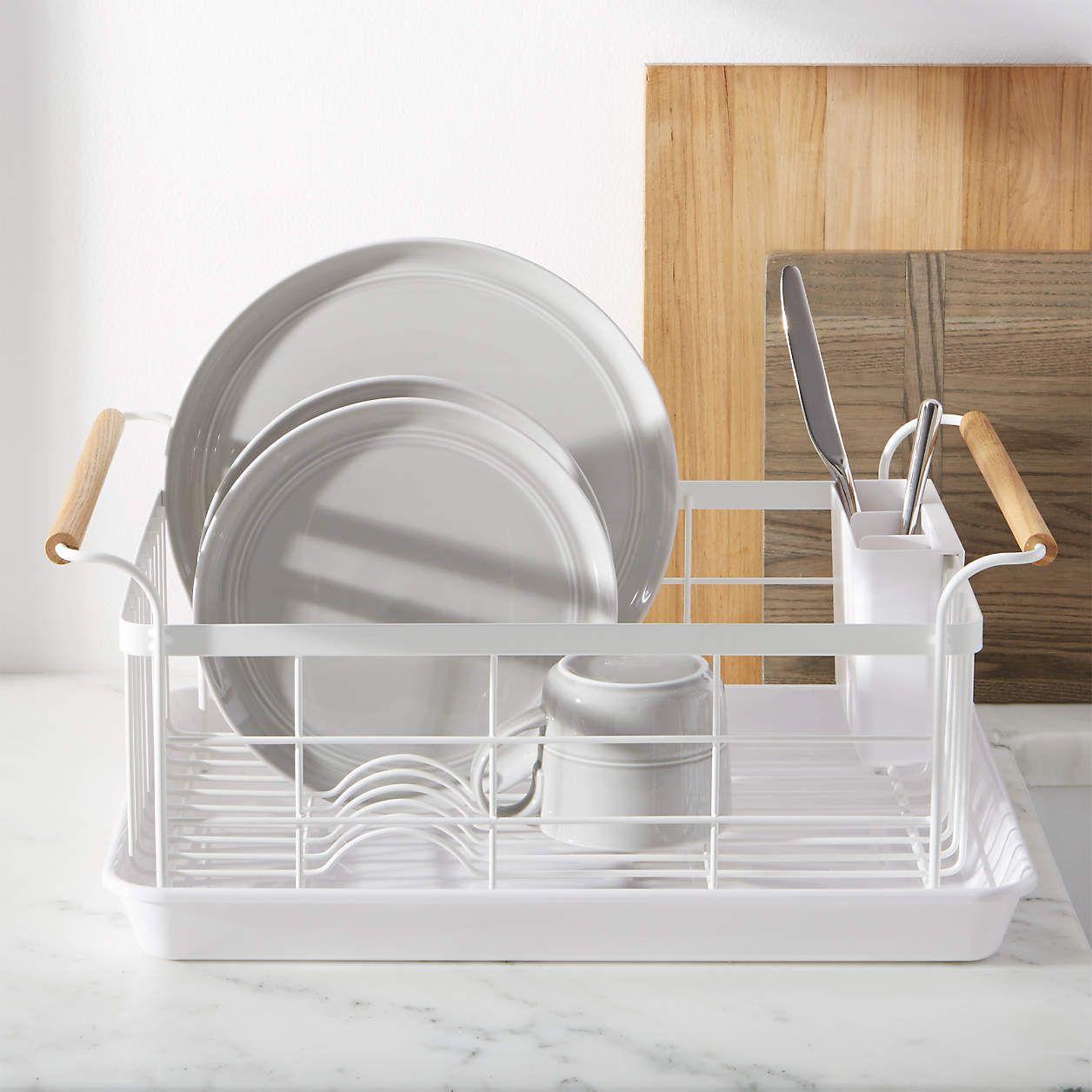 Yamazaki Home Wood-Handled Dish Rack