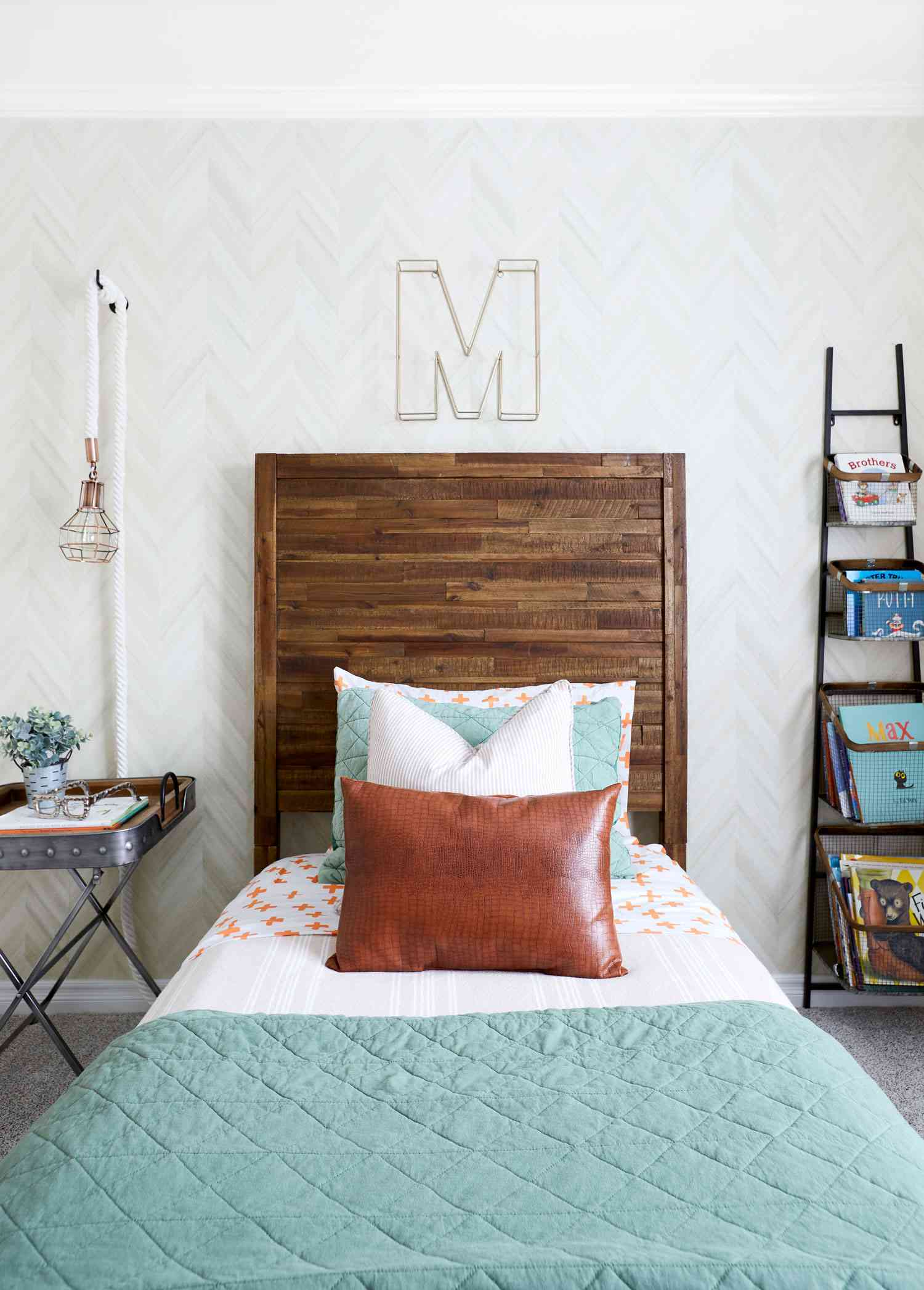 Wooden and teal bed