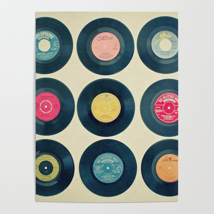 vintage records print wall art