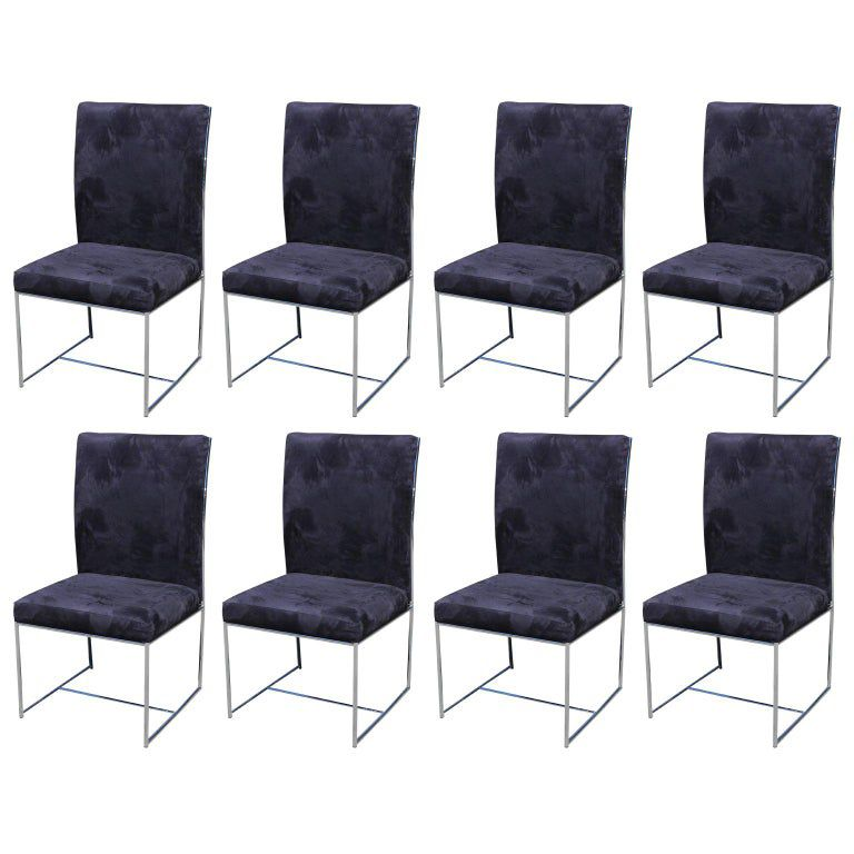 Set of Milo Baughman Ultra Suede and Chrome dining chairs