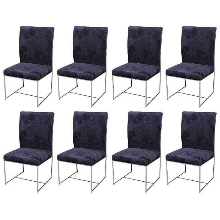 Conjunto de sillas de comedor Milo Baughman Ultra Suede y Chrome