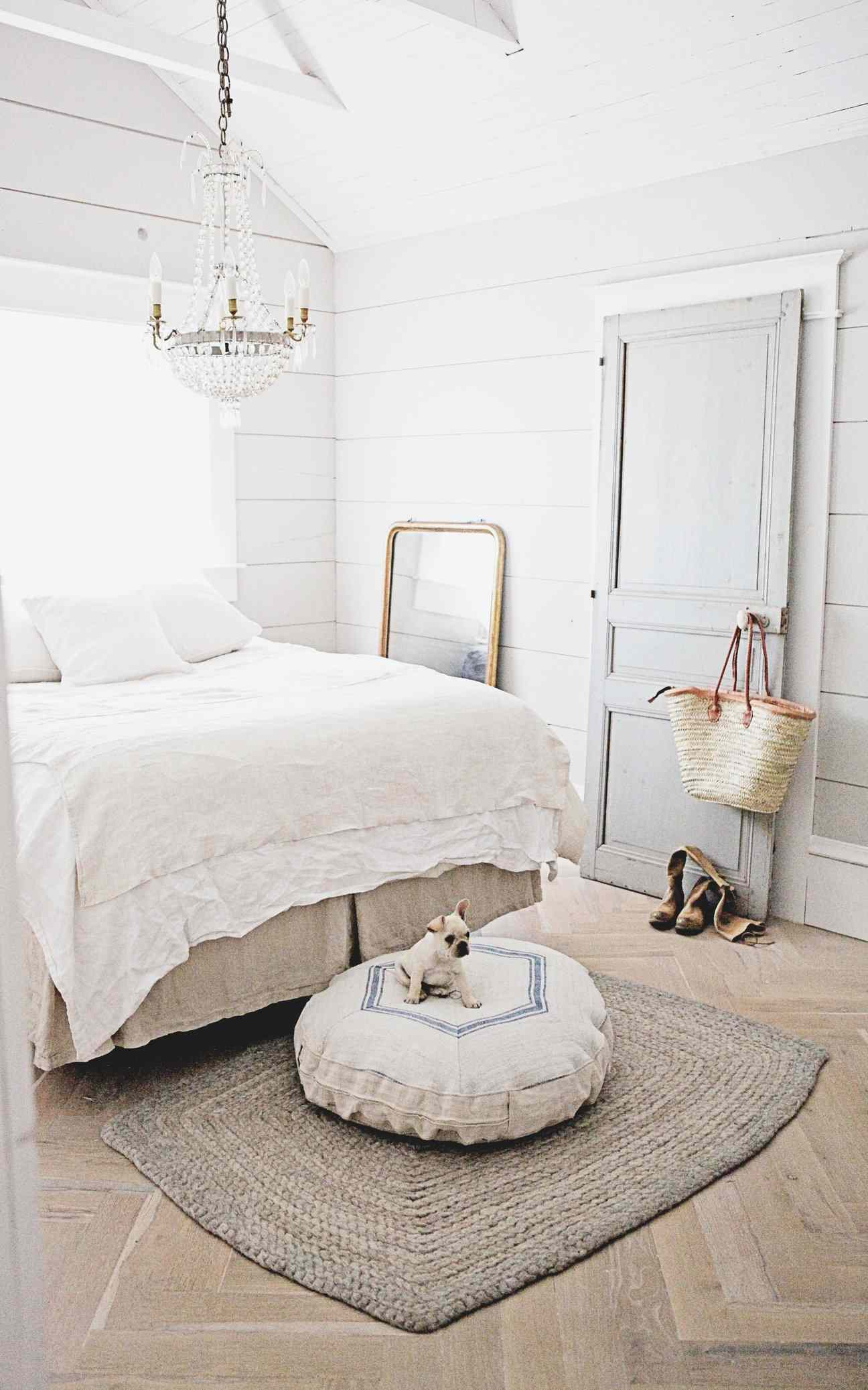 Neutral bedroom with dog bed and crystal chandelier.