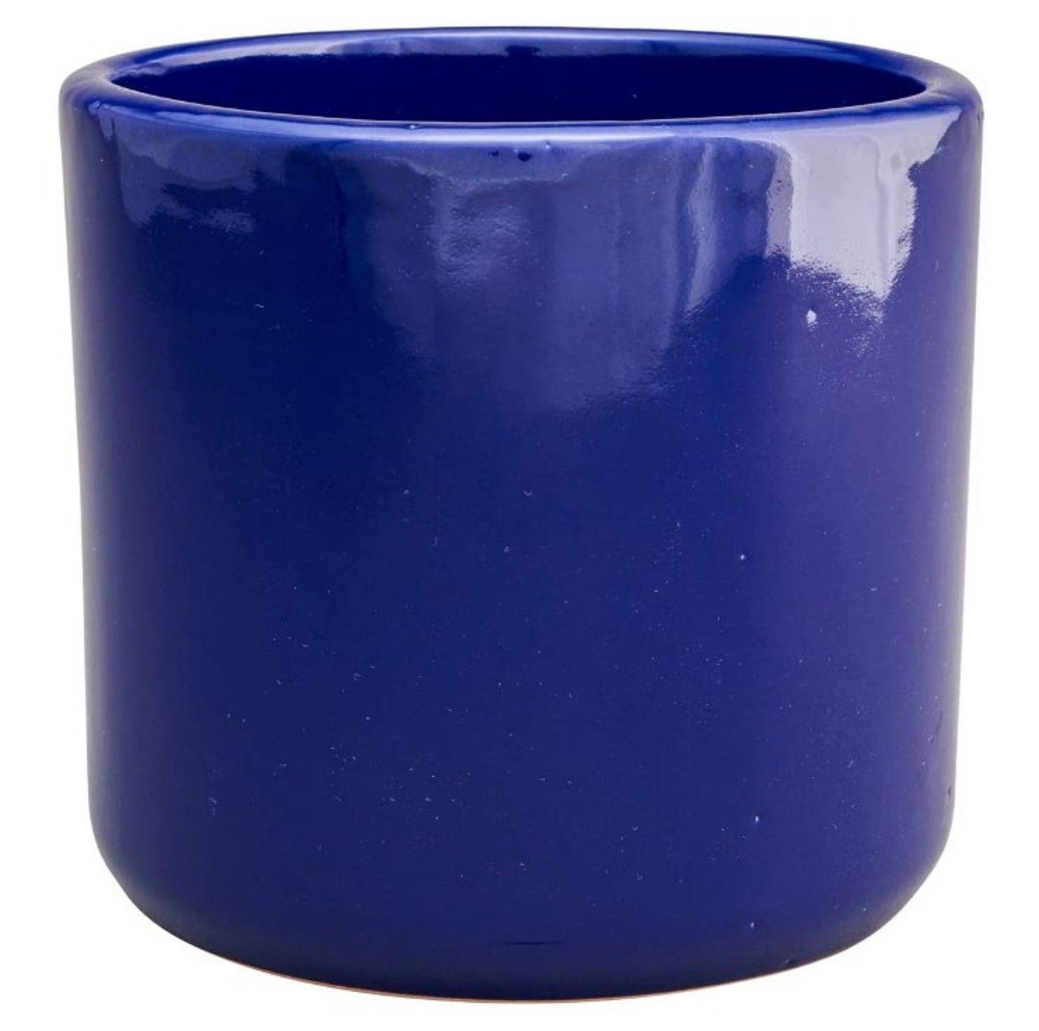 Wild Rose Goods Gloss Blue Terracotta Cylinder Planter