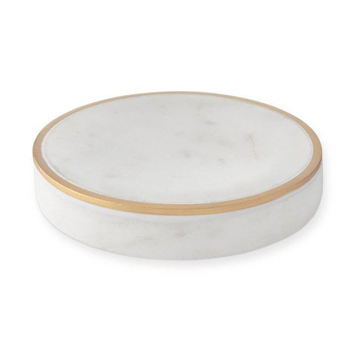 Marble and brass soap dish
