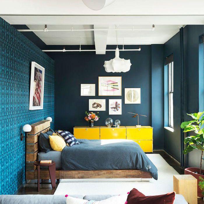 a bedroom loft with teal walls