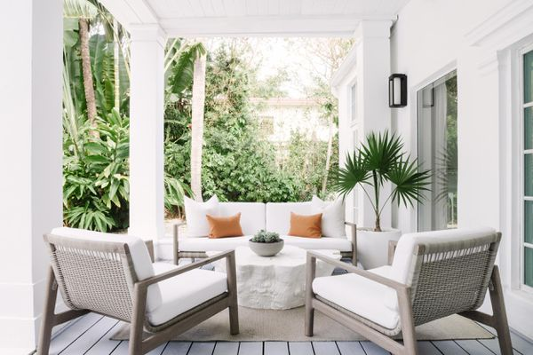 patio with white furniture