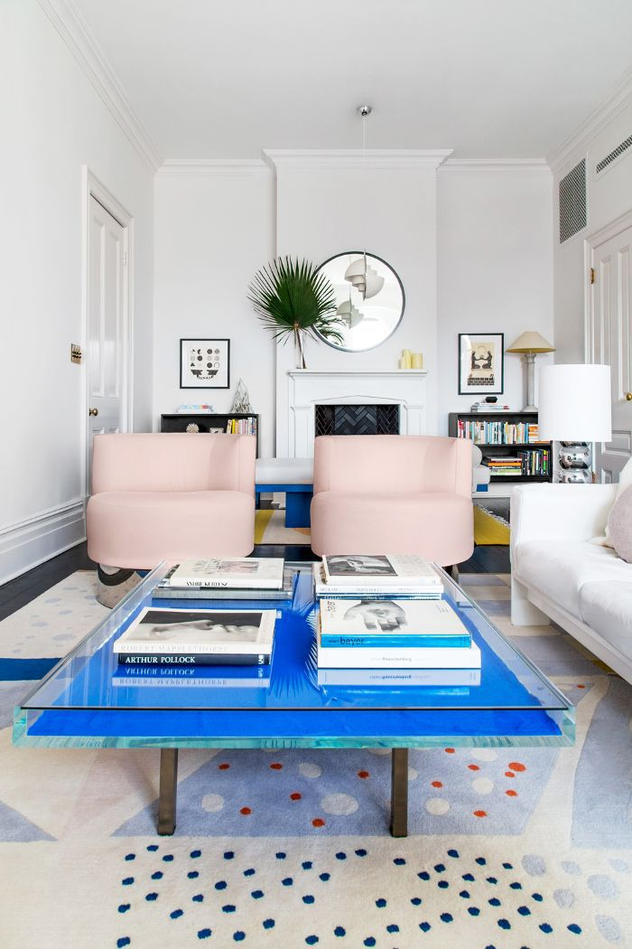 Living room with blue coffee table
