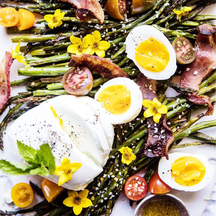 eggs, asparagus, and bacon