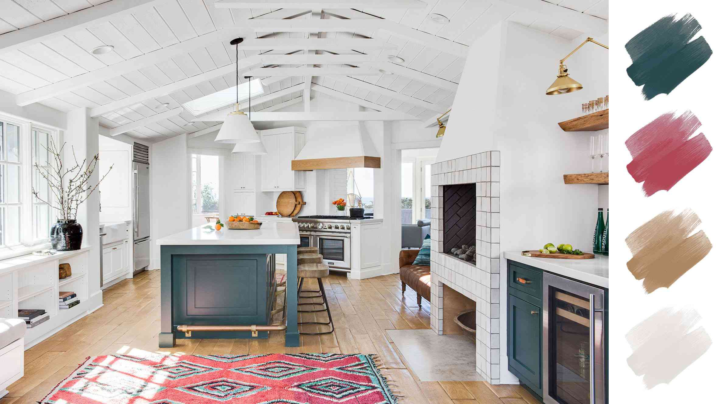 kitchen color schemes - green and white