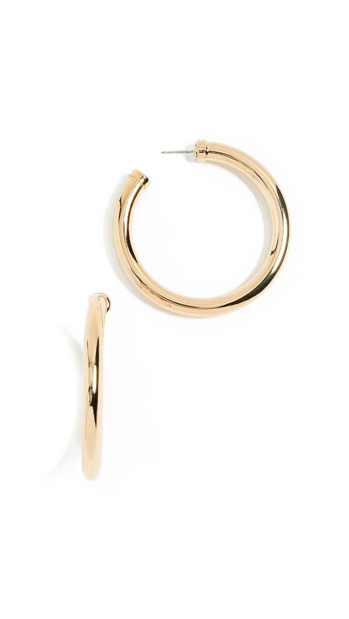 Kenneth Jay Lane Large Gold Tube Hoop Earrings