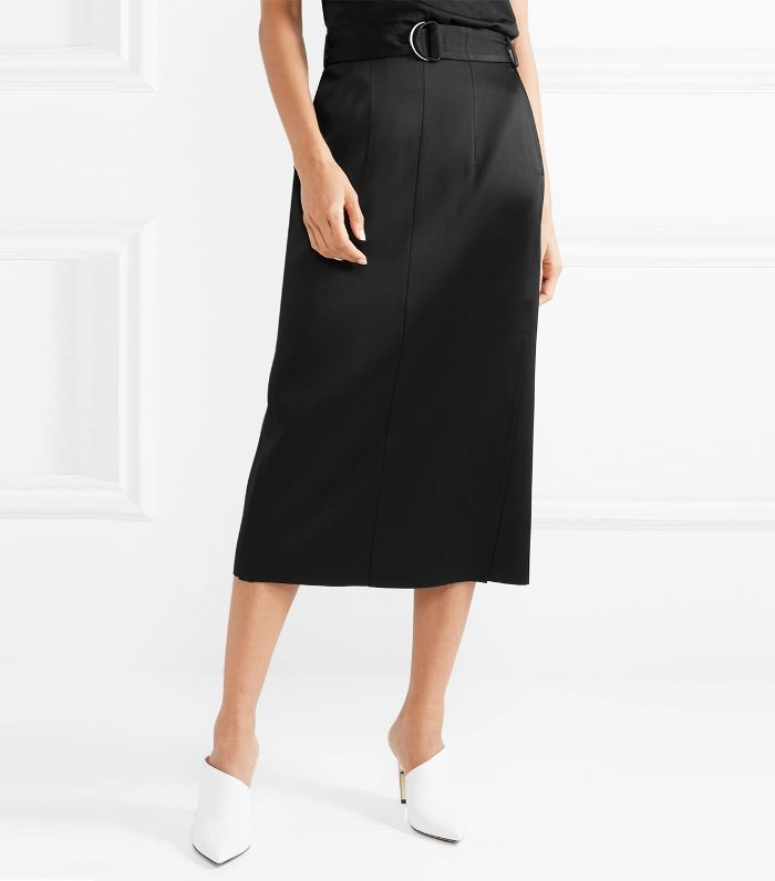 Byron Belted Satin Midi Skirt