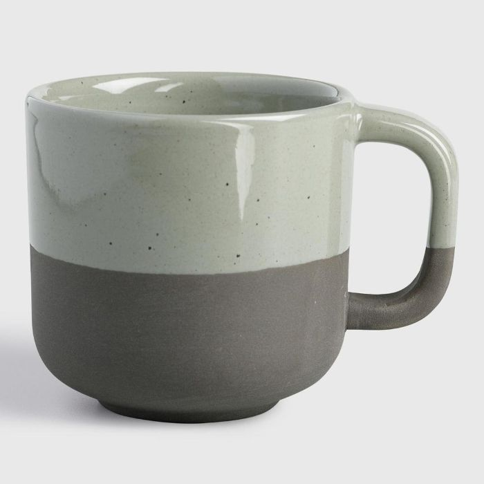 Sage Matte Stoneware Sarai Mugs Set of 4: Gray/Green by World Market