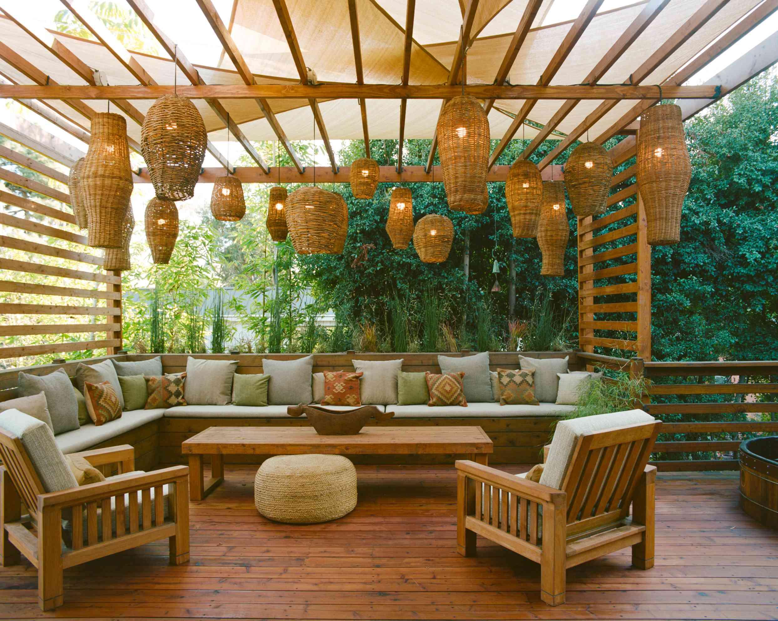 Patio with hanging lanterns