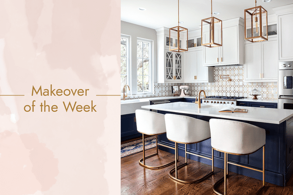 Navy and white kitchen makeover with gold fixtures.
