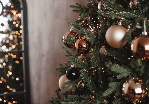 Christmas tree with ornaments and lights