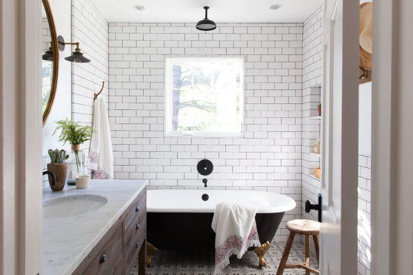Bathroom layout with black tub