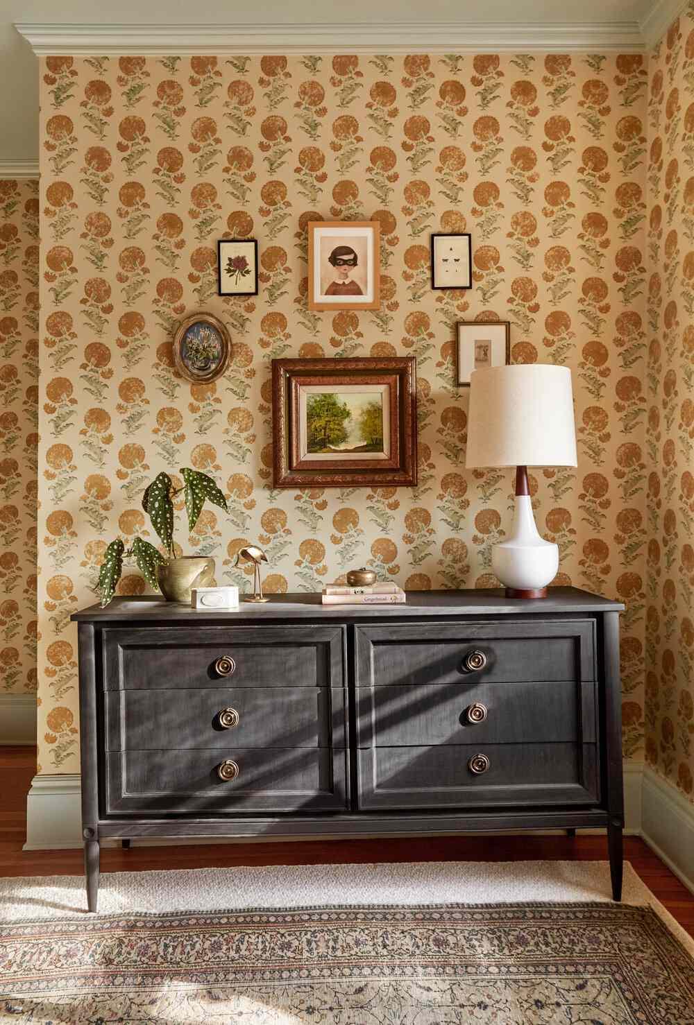Rustic nursery with wallpaper