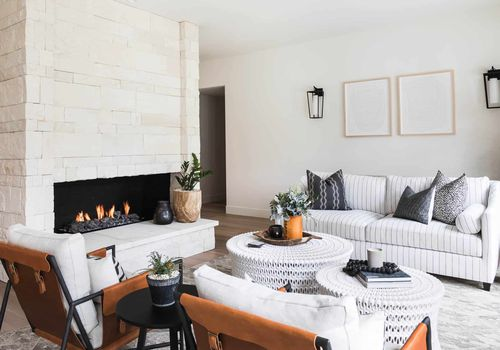 Stone fireplace oversized