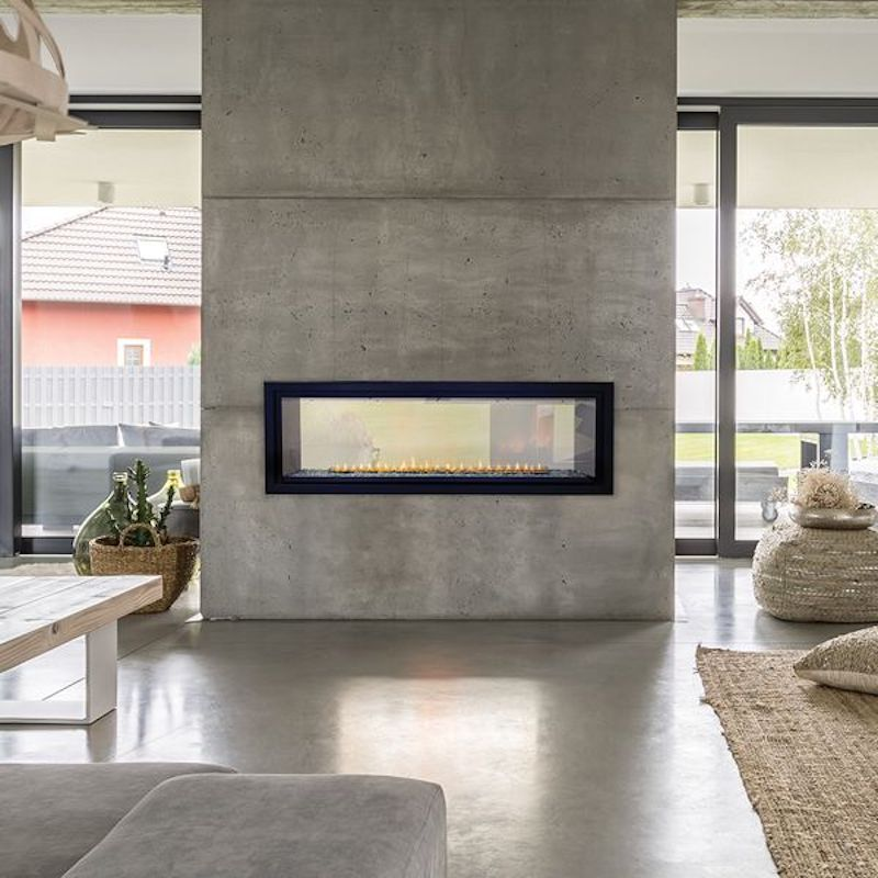 A cement fireplace, currently for sale at Woodland Direct