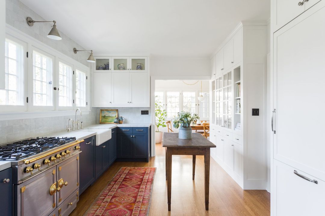 Kitchen with blue cabinets.