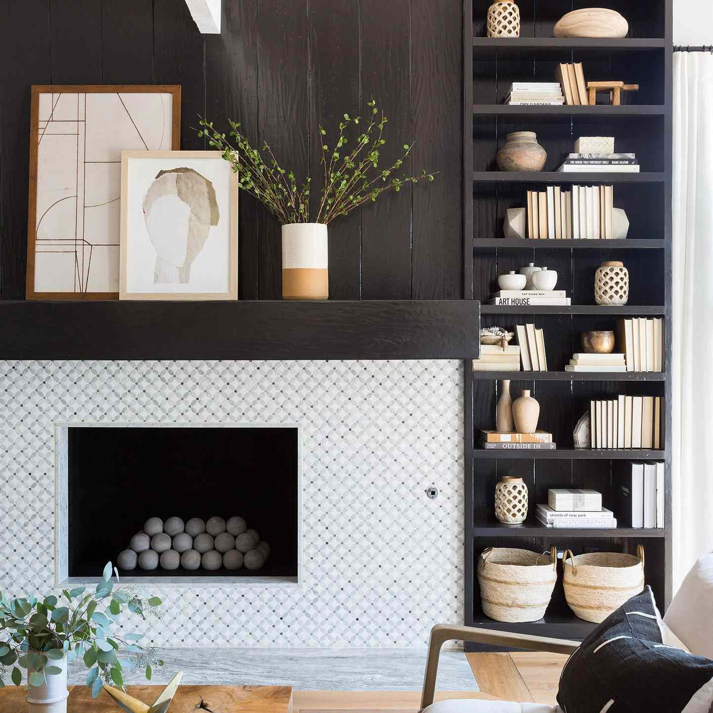 High contrast fireplace with modern concrete balls