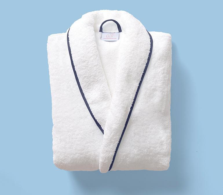 White terrycloth bathrobe with navy edges