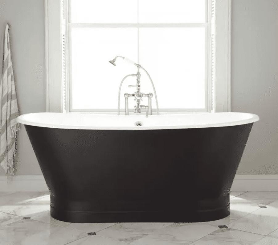 A black bathtub