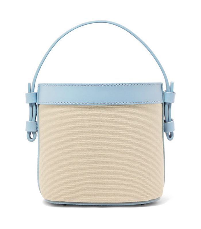 Adenia Mini Leather-Trimmed Cotton-Canvas Bucket Bag