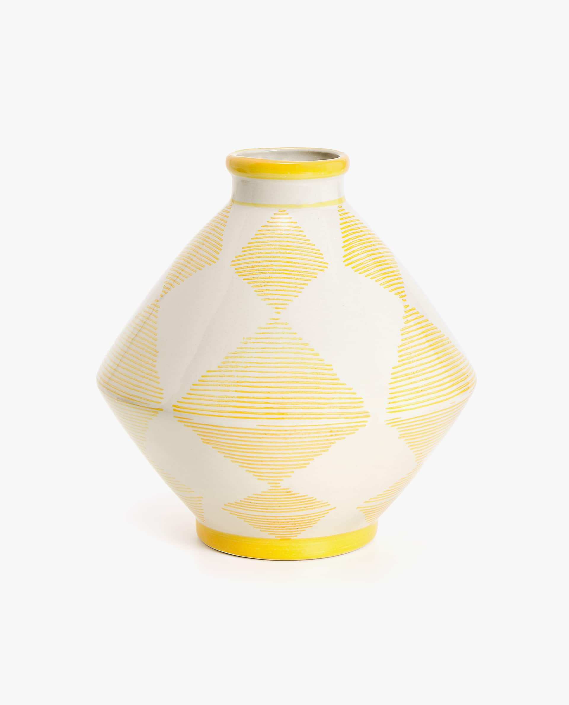 Ceramic Vase with Diamonds