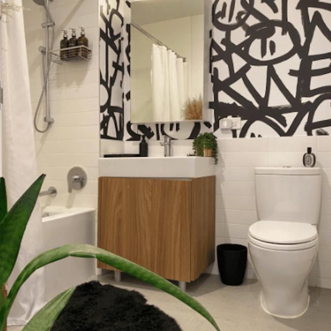 Bathroom with black designs