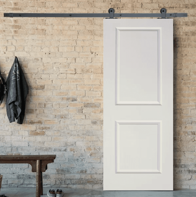 Paneled Manufactured Wood Primed Top Mount Barn Door with Installation Kit
