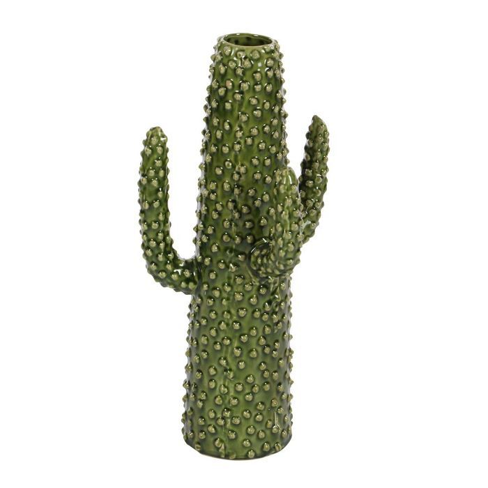 Litton Lane Glazed Green Ceramic Cactus-Shaped Decorative Vase