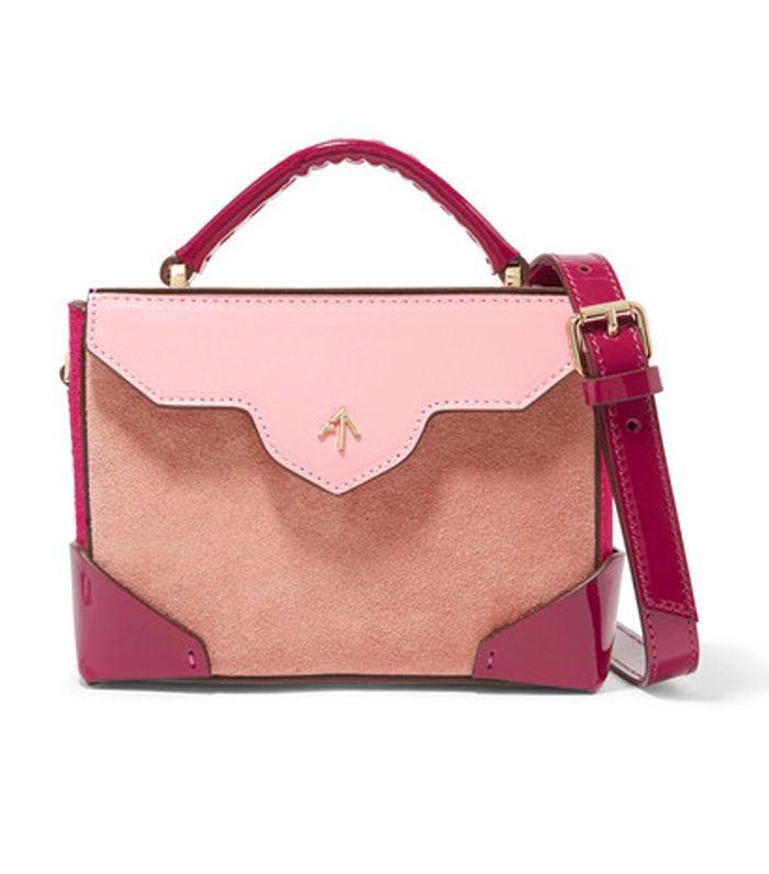 Bold Color-Block Suede and Leather Shoulder Bag