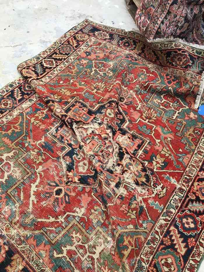 Blue Parakeet Rugs Antique Heriz Rug With Teal