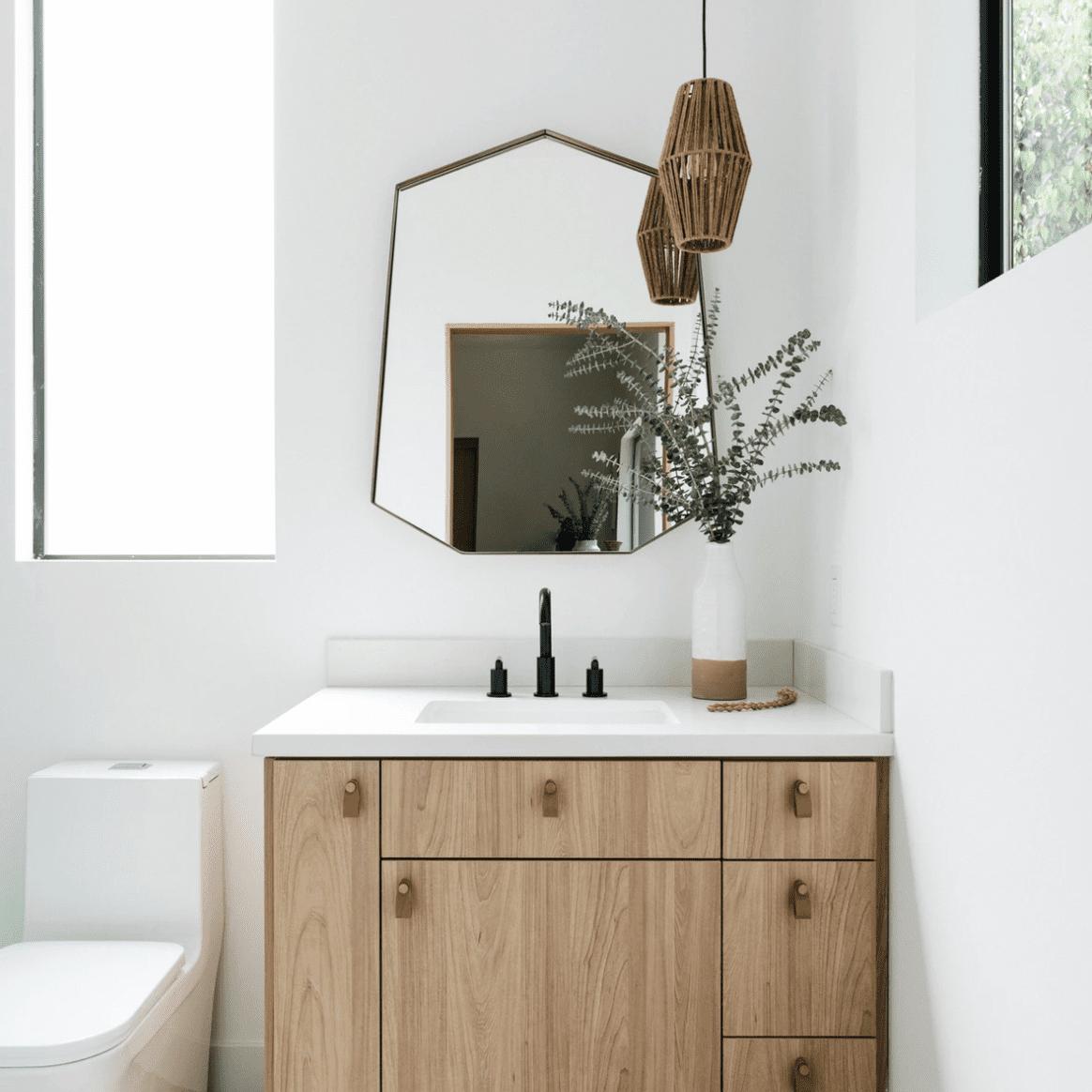 how to clean a mirror - clean geometric mirror in modern bathroom
