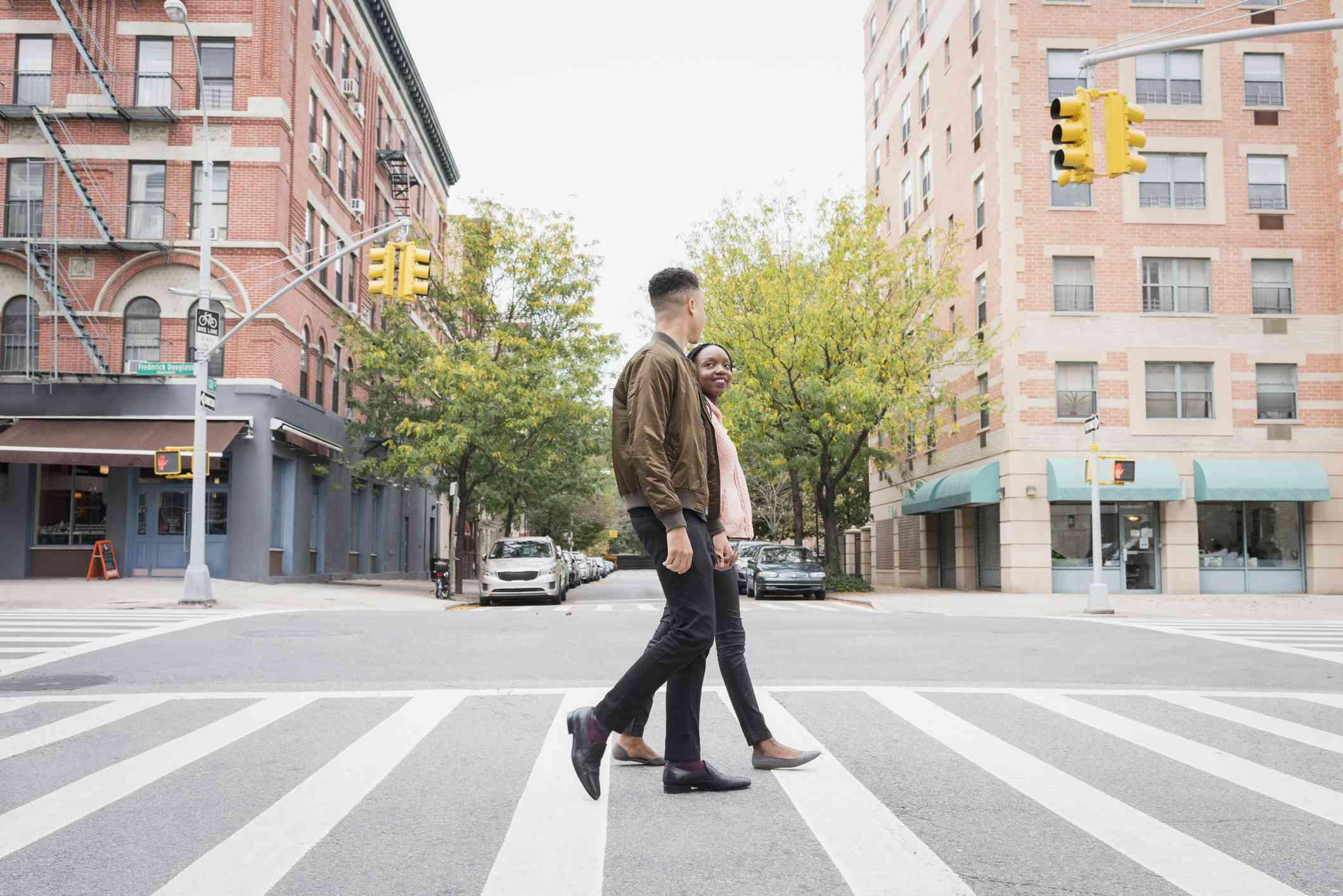 Young couple walks around city