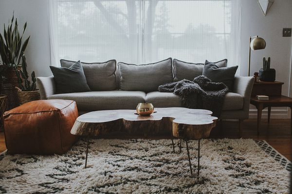 Gray couch in living room.