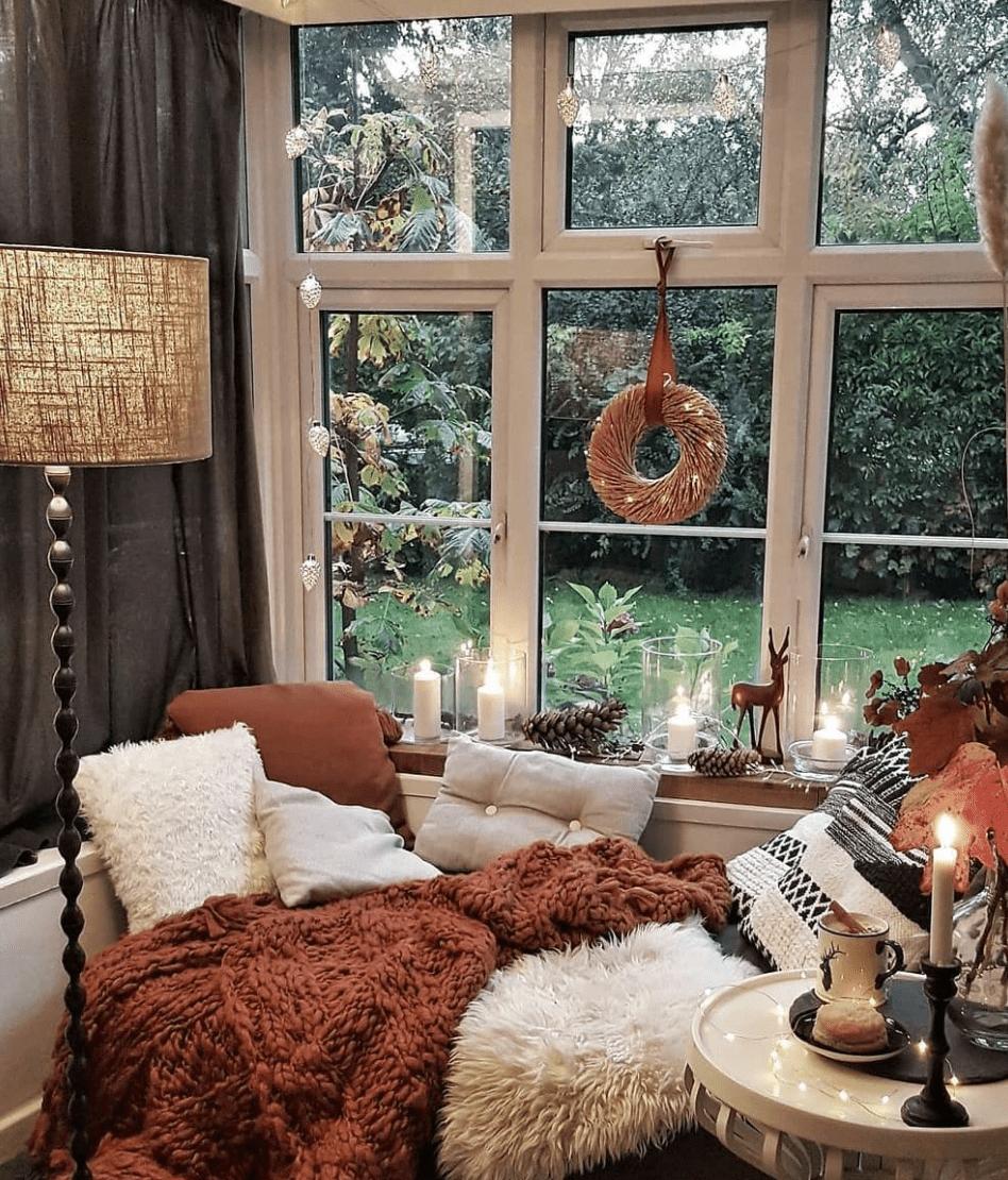 fall wreath in window