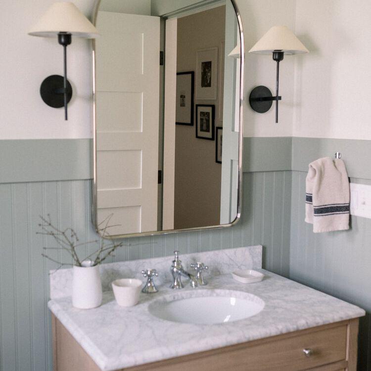 Mint green beadboard in bathroom.