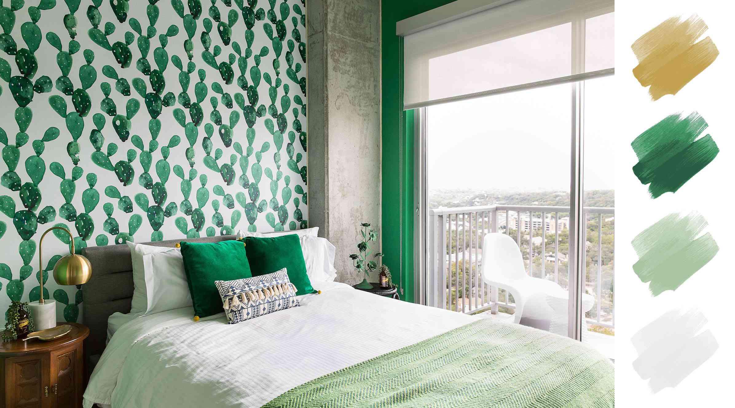 bedroom color schemes — emerald + mint + white