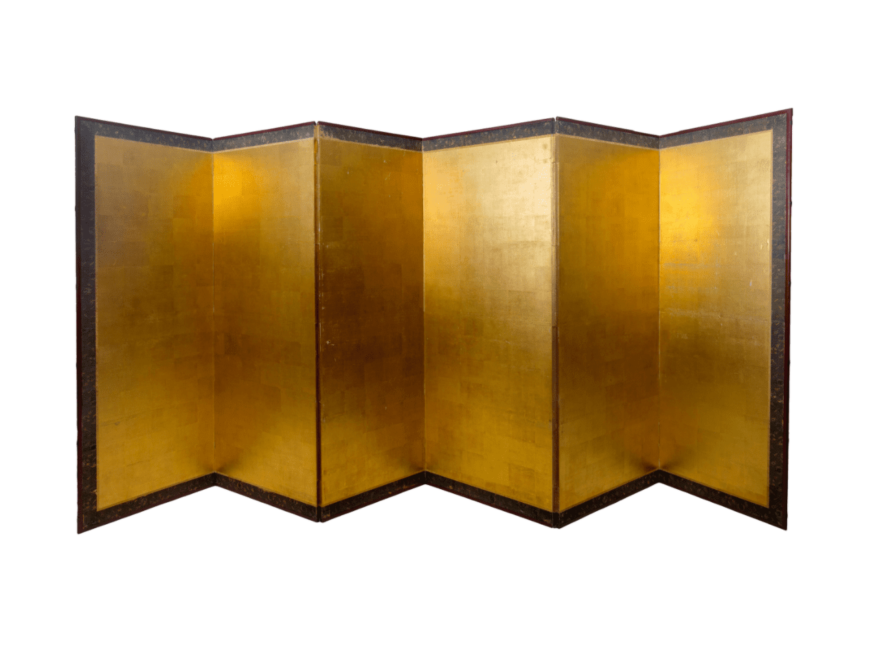 19th Century Asian Antique Gold Leaf Room Divider Screen
