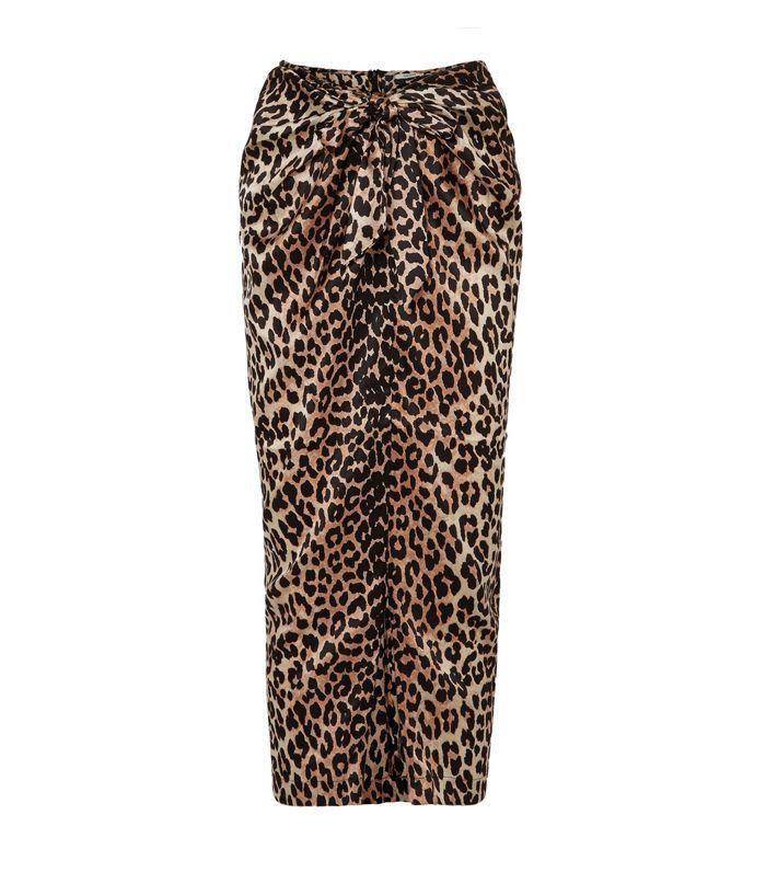 Calla Wrap-effect Leopard-print Stretch-silk Skirt