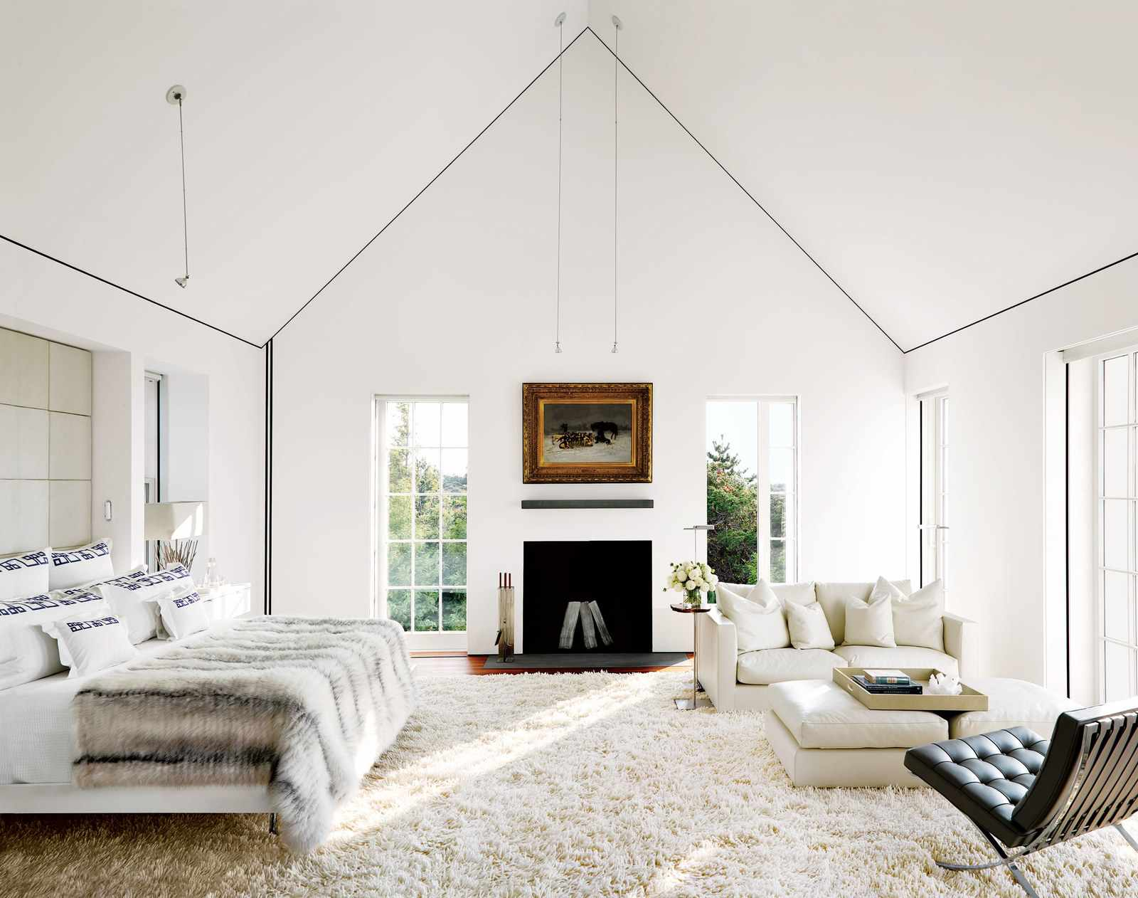 An all-white bedroom on Nantucket Island.