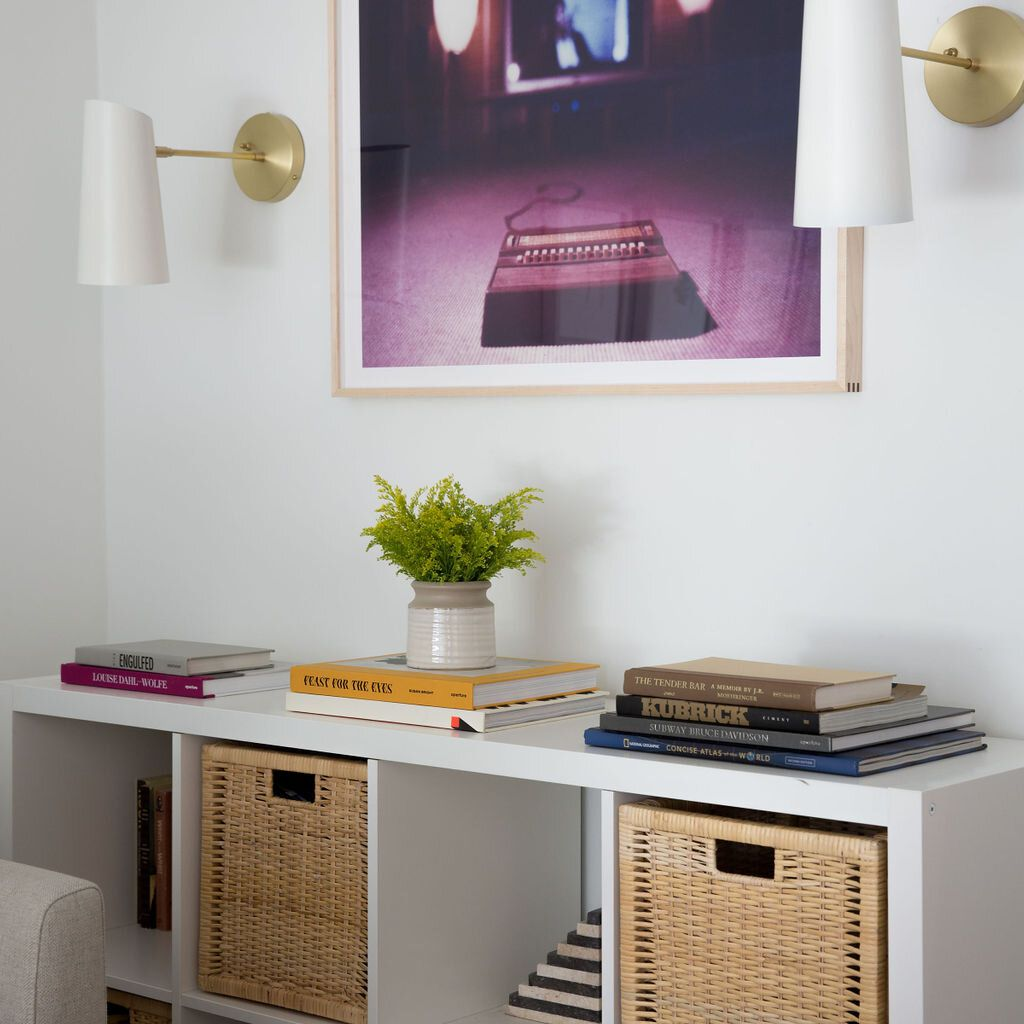 Styled cube shelves with baskets for storage