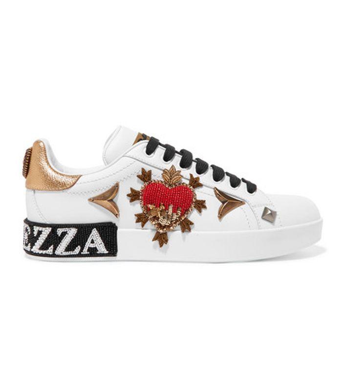 Dolce & Gabbana Appliquéd Embellished Leather Sneakers