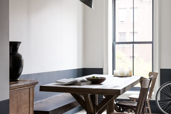 Dining room with black and white paint