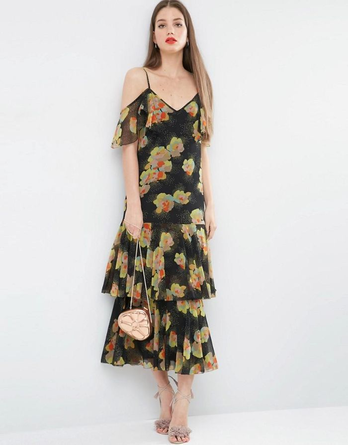 Premium Maxi Dress with Frill Hem and Cold Shoulder in Floral Print