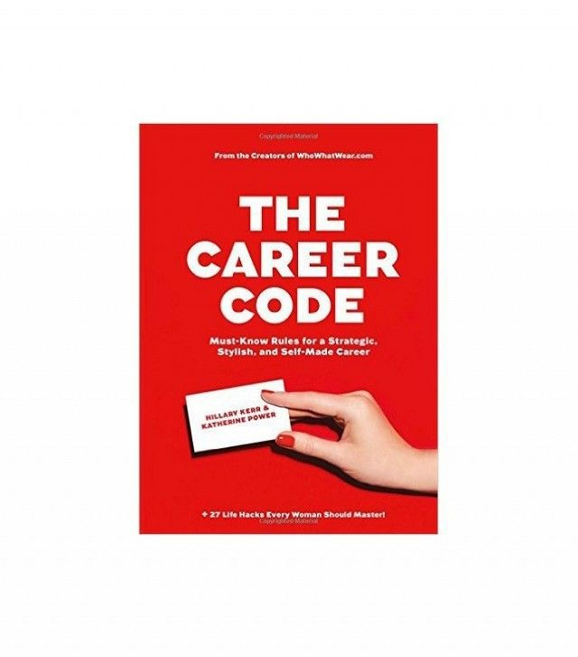 A red book cover with white writing and a female's hand reaching out with a business card.